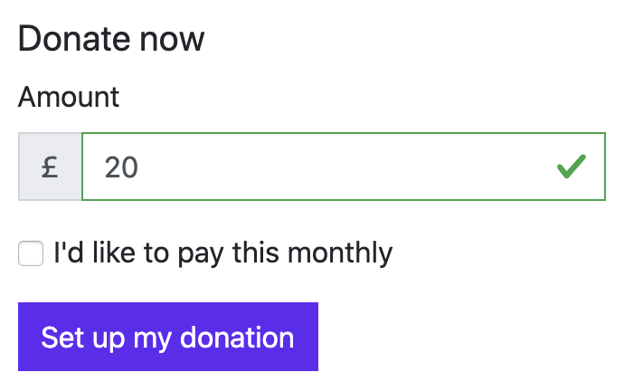 Example of a donation form